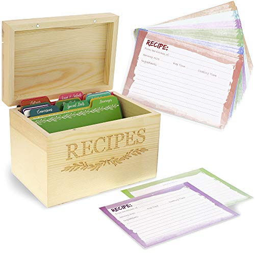 """Juvale Rezeptbox aus Holz - Mit 60 Rezeptkarten zum Beschriften und Trennwänden - Kiefernholz mit der Aufschrift """"Recipes"""" und Efeu-Design - 18,3 x 12,7 x 11,9 cm"""