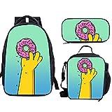 The Si-mps-ons - Juego de mochila escolar con bolsas de almuerzo y estuche ligero para viaje para niños y niñas