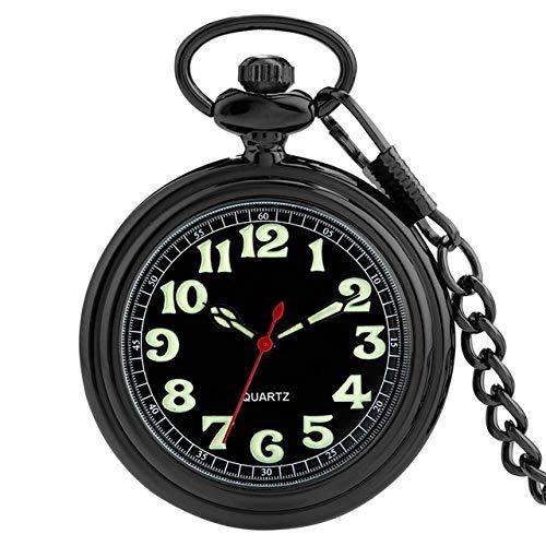 KUELXV sportinggoodsLujo Noctilucente Fluorescente Cara Abierta Números arábigos Reloj de Bolsillo de Cuarzo Luminoso Oro/Negro/Cadena de Plata Reloj de joyería Regalo, Negro
