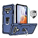 Amytor LG Stylo 6 Phone Case with [2 x Tempered Glass Screen Protector] [ Military Grade ] 15Ft. Drop Tested Armor Protective Phone Case with Magnetic Car Mount Ring Kickstand for LG Stylo 6 (Blue)