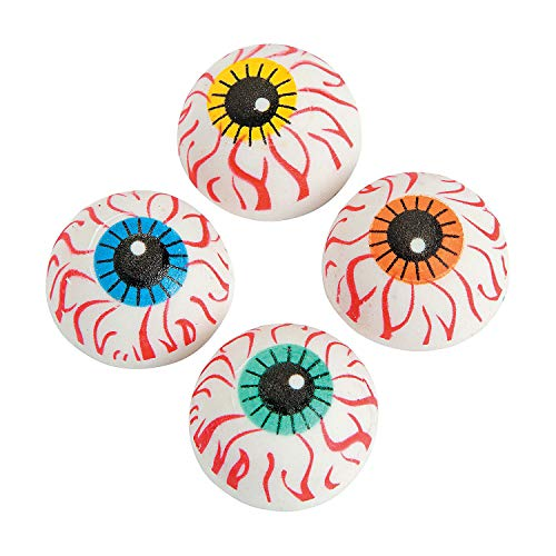 Fun Express Eyeball Erasers - Bulk 24 Pack - Halloween giveaways and School Supplies