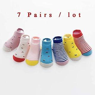 6 Pares/Lote 0 a 6 Años Calcetines Antideslizantes De Algodón para Niños para Niños Calcetines De Piso De Corte Bajo para Niña con Agarres De Goma Cuatro Estaciones 4-6T / Beige