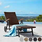 TecTake Aluminium Poly Rattan Sonnenliege mit Armlehnen und Rollen klappbar Gartenliege - 3