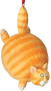 On Holiday Orange Tiger Tabby Fat Cat Christmas Tree Ornament Hanging from His Tail by Midwest 4.25 inch Made of Polyresin