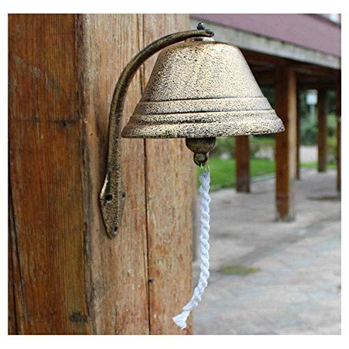 WMYATING Timbre colgante de hierro fundido, estilo pastoral, decoración de pared, campanas de hierro (tamaño: 30 x 18 x 30 cm)