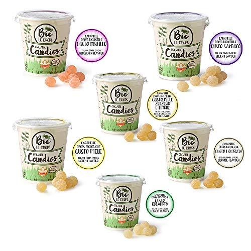 FALLANI SÜSSIGKEITEN Bio-Bonbons, Bio Le Drops, zuckerhaltige Bonbons, 12 Gläser mit 50 g (2 pro Geschmack) Blaubeere, Holunder, Honig, Ingwer und Zitrone, Eukalyptus, Honig, Lakritz, Bio-Bonbons