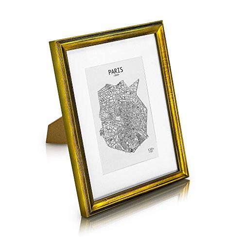 Marco de Fotos Vintage 20 x 25 cm con Paspartú para Foto de 13 x 18 cm - Shabby Chic Originales - Madera de Pino - 1 Marco - Anchura del Marco 2 cm - Frente de Cristal Templado - Color Oro Viejo
