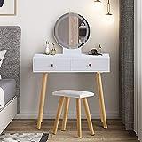 KJ - Tocador con espejo y pantalla táctil LED, 3 colores, 2 cajones, taburete de madera maciza, cojín de piel sintética suave, color blanco