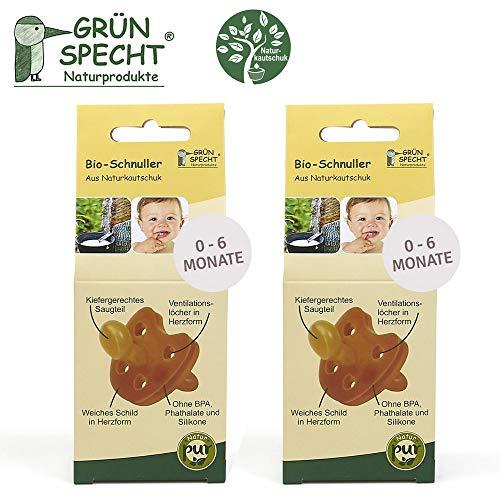 Gruenspecht Chupete orgánico de caucho natural, 0 – 6 meses, juego de 2, escudo suave en forma de corazón, forma ortopédica