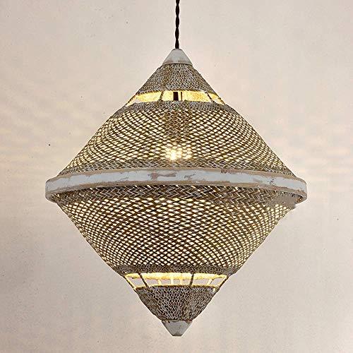 NZDY Sudeste de Asia Arte de Ratán Creativo Lámpara Colgante de Techo Lámpara de Araña China Luz de Restauración Zen Sala de Té Pabellón de Ratán E27 Base de Montaje Lámpara de Suspensión Colgante