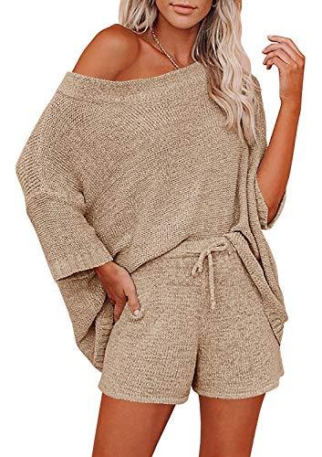 Ermonn Womens 2 Piece Outfits Sweater Sets Off Shoulder Knit Tops Waist Short Suits Casual Pajama Set Romper Jumpsuits Khaki