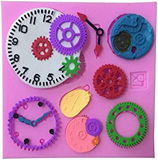 Gears, Wheels and Clock Silicone Mold (Clock Works Orange, Steam Punk) For Cupcake,Cake,Candy,Chocolate,Soap Decoration
