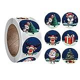 5 rollos de 2500 etiquetas adhesivas de sello de Navidad para bricolaje caja de regalo de horneado sobre de embalaje de Navidad fiesta de Año Nuevo Adornos (A)