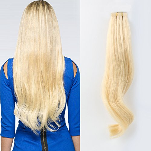 ABH AMAZINGBEAUTY Semi-permanent Real Remi-Remy 100 Human Hair Tape in Extensions 50g-20pcs Glue in Skin Weft Tape Attached Invisible Seamless Reusable Beach Blonde-Bleach Blonde Color 613 20 Inch