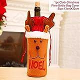 WERNG Feliz Navidad Decoración para el hogar Papá Noel Tapa de la Botella de Vino Decoración de la Mesa de Navidad Cristmas 2019 Navidad Noel Feliz año Nuevo 2020 Noel Reno