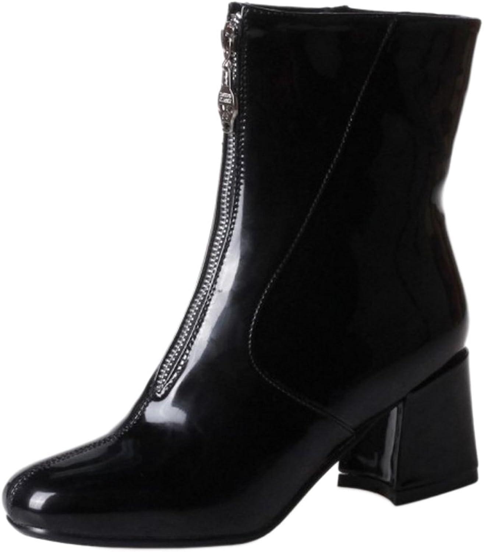 KemeKiss Women Fashion Mid Block Heel Zipper Bootie Boots