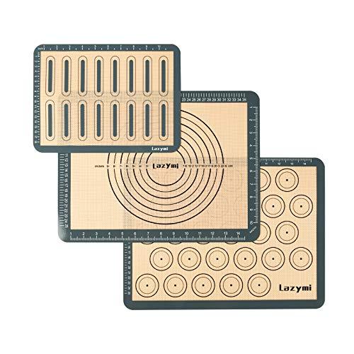 Lazymi Antihafte Backmatte Silikon mit Messung für Macaron/Kuchen/Brot/Pizza Matte [3] Backunterlage. Silikonmatte Backpapier Backfolie Ausrollmatte Teigmatte Tischset BPA Frei(Grau)