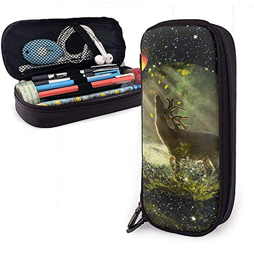 Galaxy Deer Pen Case Big Capacity Pencil Bag Makeup Pouch Durable Students Stationery with Double Zipper