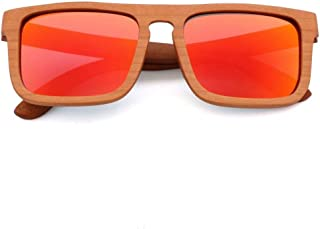 LUKEEXIN Wood Fashion Polarized Sunglasses for Outdoor Driving, UV400, Unisex (Color : Red)