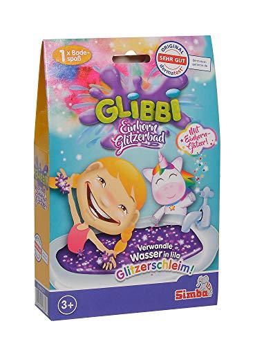 Simba 105953271 - Glibbi Einhorn Glitzerbad, Badewannenspielzeug, Badespaß, Unicorn, Mädchen, lila Glitter, Schleim, Badezusatz, Pulver verwandelt Wasser in Glitzerschleim, ab 3 Jahren