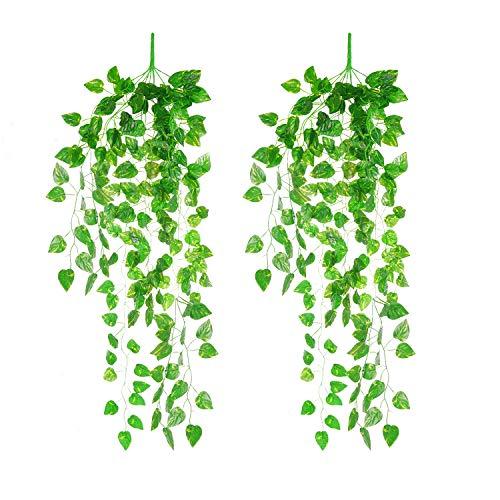 Siumir Hiedra Artificial Guirnalda Falso Hiedra Plantas Artificiales Colgar Plantas para Decoración de Bodas, Jardines, Oficina 2 PCS (95 cm)