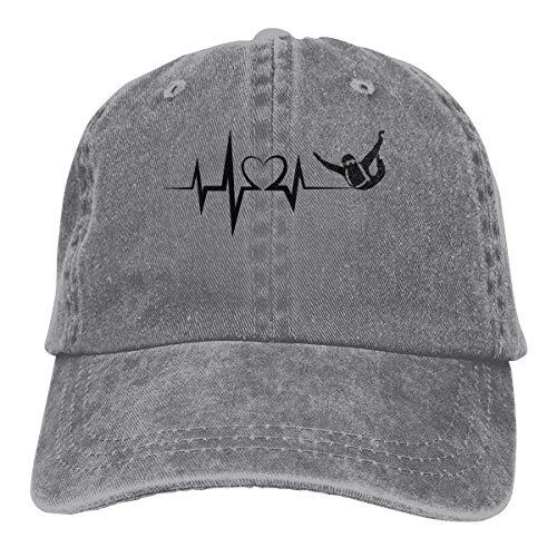 Hoswee Gorra de Béisbol Ajustable Mens Womens Baseball Cap Hat Heartbeat Skydiving Washed Jean Trucker Hat for Women