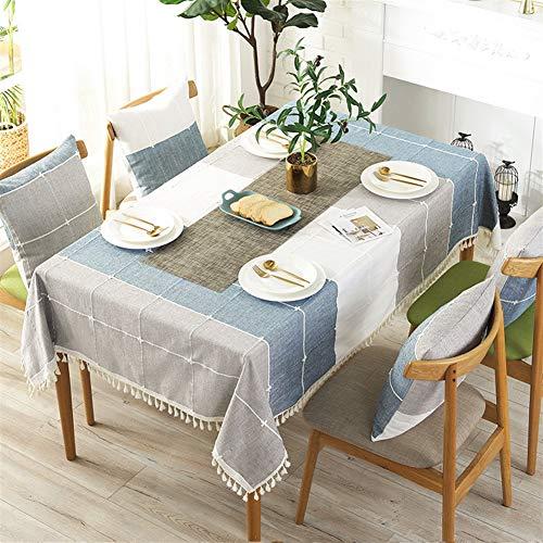 Liveinu Nappe Rectangulaire Tissu de Table Vichy Lavable Entretien Facile Résistant Imperméable Anti-tâche Nappe de Table pour Picnic Cuisine Jardin Bleu 140x140cm