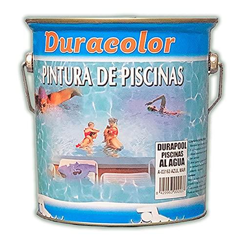 Pintura Durapool para Piscinas a Base de Agua - Color Azul - 4 Litros - Resistente a las Algas - Secado Rápido - Durabilidad al Contacto del Agua - Acabado Mate - Pintura de Piscinas - Duracolor