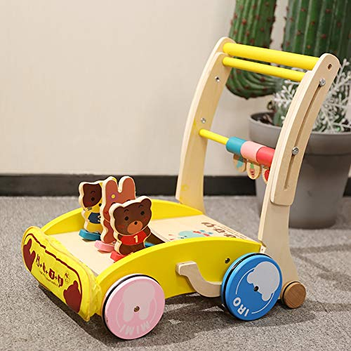 Check Out This ROCK1ON Wooden Baby Learning Walker Toys,Rich Activity Center,Adjustable Height Handl...