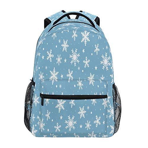 Fiocchi Di Neve Bianchi Di Natale Blu Zaino per Bambini Studente Scolastico Zaino da Bookbag Borsa Del Libro per Viaggio Teenager Ragazze Ragazzi Capretto