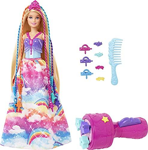 Barbie Dreamtopia Muñeca princesa de juguete con accesorio para hacer trenzas de colores y moda fantasía (Mattel GTG00)