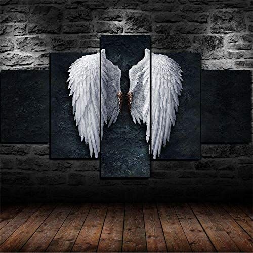 Canvas Prints 5 Pieces Modern Artwork,5 Piece Modern Stretched and Framed,5 Piece Picture,5 Piece Painting,5 Pieces of Wall Decoration,Home Decor,Gift 150X80Cm Broken Angel Wings Statue