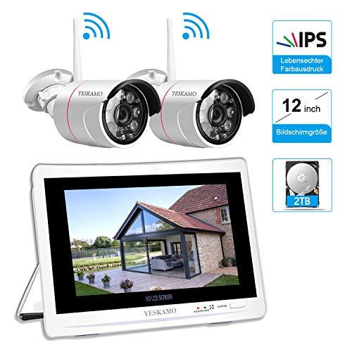 3MP Überwachungskamera Set Aussen WLAN mit 12 Zoll Monitor, YESKAMO Videoüberwachung NVR Funk Überwachungssystem mit 2TB Festplatte, 30m Nachtsicht, Bewegungserkennung