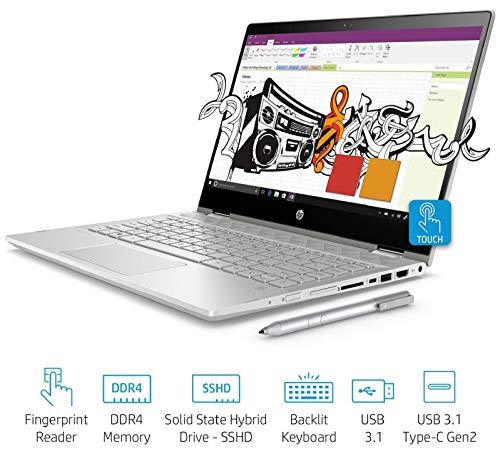 HP Pavilion x360 14-cd0050TX Convertible(8th Gen i3-8130U/4GB DDR4/1TB+8GB SSHD/NVIDIA 2GB Graphics/Win 10/FP Reader/MS Office H&S 2016) Natural Silver