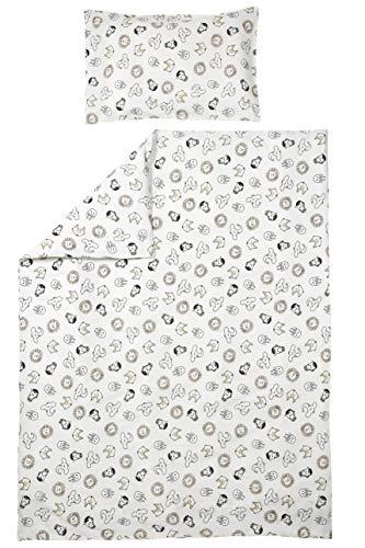 Meyco 422056 Parure de lit pour enfant Motif animaux 40 x 60 cm et 100 x 135 cm Blanc