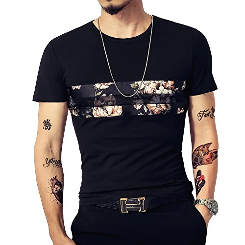 LOGEEYAR Mens Short Sleeve Tshirts Slim fit Fashion Cotton Crewneck Tee Novelty Graphic Printed Shirt