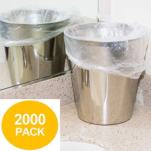 "4 Gallon Trash Bags - 2000 Small Mini Garbage Bags | 17"" x 18"" Clear Waste Basket Trash Bags | Bulk Plastic Bathroom Trash Can Liners"