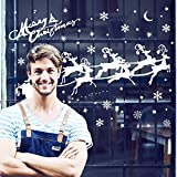 ASANMU Fensterbilder Weihnachten Fenstersticker 4 Stücke 43 * 30 cm Wiederverwendbare Winterliche Fenster Aufkleber Wandtattoo PVC-Sticker Schneekristallen und Schneesternen (Weihnachtshirsch) - 5