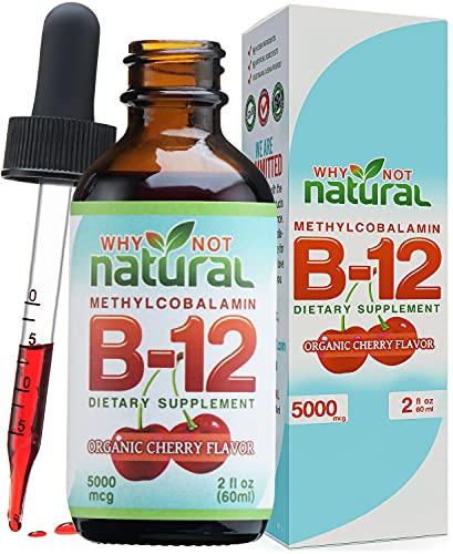 Organic Vitamin B12 Liquid - Sublingual Extra Strength 60 x 5000 mcg Drops, Methylcobalamin, Natural Cherry Flavor, Vegan, Maximize Absorption and Energy