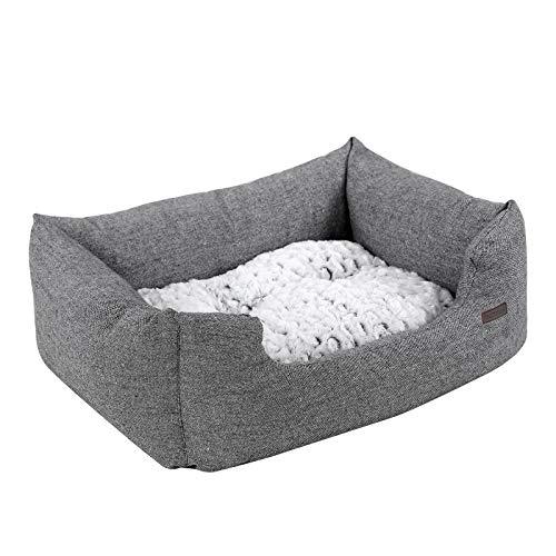 FEANDREA hondenbed, hondenmand met omkeerbaar kussen, hondenslaapbank, hondenmat, comfortabel, ademend, anti-slip, opstaande rand, 80 x 60 x 26 cm, voor honden tot 15 kg, grijs PGW26G