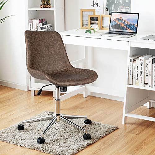 Giantex Modern Home Office Chair, PU Armless Desk Chair, 360° Swivel Task Chairs, Ergonomic Mid-Back Computer Chair, Height Adjustable Leisure Desk Chair