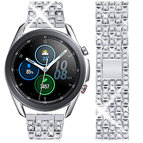 Goton Band Compatible for Galaxy Watch 3 Band 45mm, Women Men Bling Diamond Crystal Strap 22mm Stainless Metal Replacement Bracelet Compatible for Samsung Galaxy Watch 45mm / 46mm / S3 Frontier / S3 Classic (Silver, 22mm)