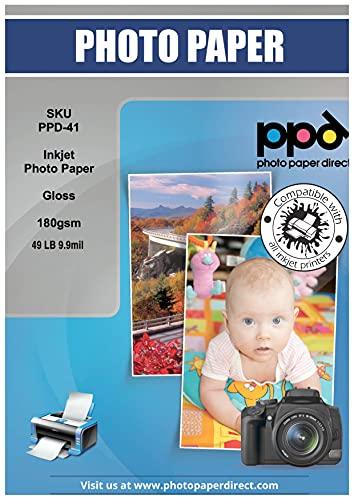 PPD Inkjet - A3 x 50 Hojas de Papel Fotográfico Brillante 180 g/m² - Secado Instantáneo - Calidad Premium - Para Todas Impresoras de Inyección de Tinta - PPD-41-50