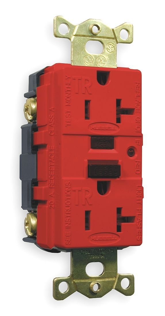 GFCI Max 53% OFF Discount mail order Receptacle 20A Red Industrial