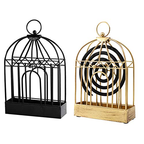 Seayun Nordic Wrought Iron Mosquito Coil Holder,Easy to Carry and Hanging Handle Design,Height 8 Inches,Suitable for Mosquito Coils with A Diameter of 130mm, (Gold)