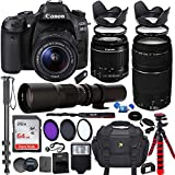 Canon EOS Rebel 80D DSLR Camera with 18-55mm is STM Lens Bundle + Canon EF 75-300mm f/4-5.6 III Lens and 500mm Preset Lens + 64GB Memory + Filters + Monopod + Spider Tripod + Professional Bundle