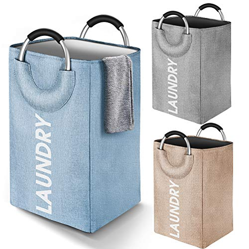 JOMARTO Laundry Basket Linen Built-in Lining, Collapsible Fabric Laundry Hamper with Ring Aluminum Handle for Easy Carry Portable Washing Bin Folding Clothes Bag Travel Shopping Bathroom (Blue)