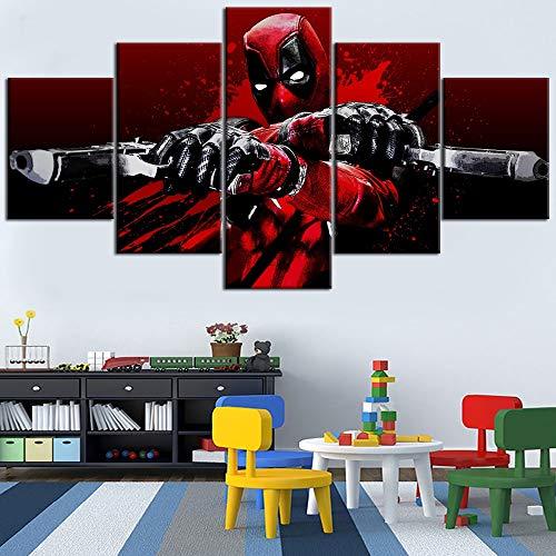 5 Stück drucken Leinwand Malerei Film Deadpool Blood Guns Glitch Type Poster Home Dekoratives Wohnzimmer(size 3)