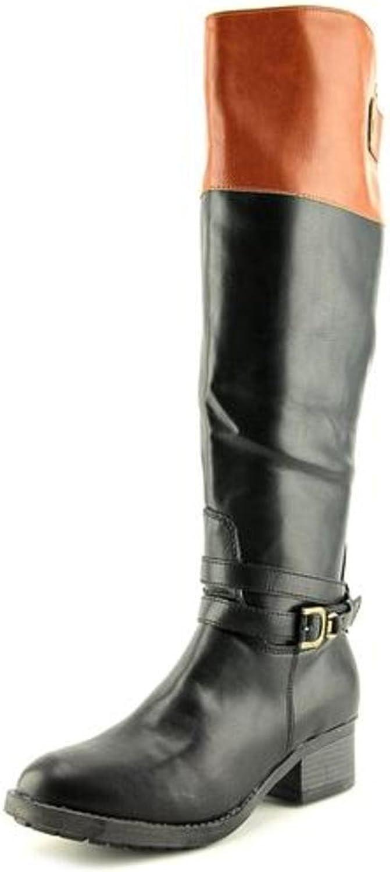 Rampage Womens Imelda Leather Round Toe Knee High Riding, Black Cognac, Size 9.0