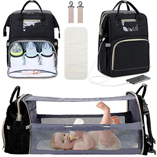 Manrany 3 in 1 Diaper Bag Backpack with Changing Station, Foldable Baby Travel Bassinet Bed, Portable Crib, Mummy Bag, Large Capacity, Waterproof, USB Charging Port (Black-a)